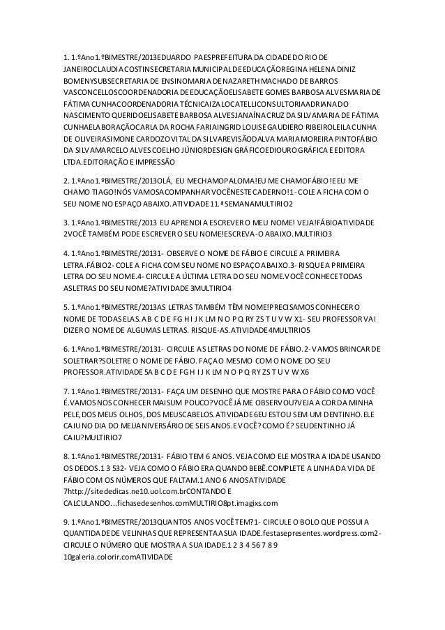 1. 1.ºAno1.ºBIMESTRE/2013EDUARDO PAESPREFEITURA DA CIDADE DO RIO DE  JANEIROCLAUDIA COSTINSECRETARIA MUNICIPAL DE EDUCAÇÃO...