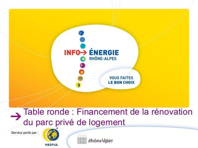 Table ronde : Financement de la rénovation  du parc privé de logement  Service porté par :