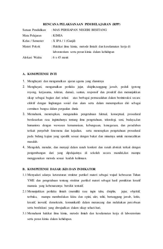 Rpp Kimia Kelas X Bab 1 Pendahuluan