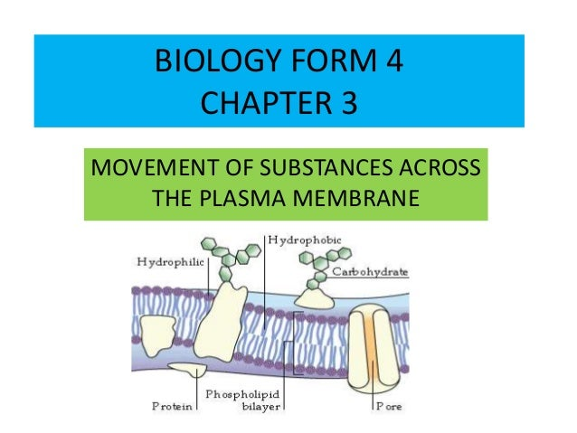BIOLOGY FORM 4  CHAPTER 3  MOVEMENT OF SUBSTANCES ACROSS  THE PLASMA MEMBRANE