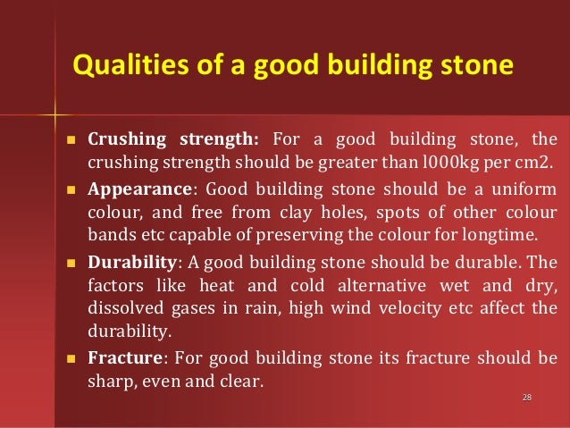 27; 28. Qualities of a good building ...