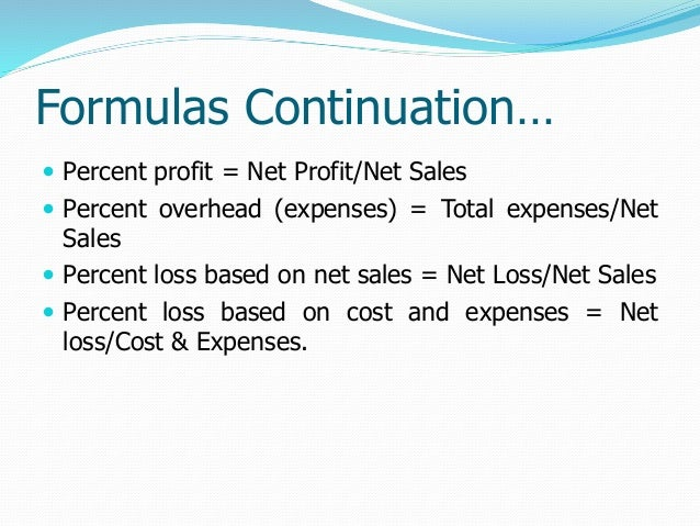 profit loss sales and cost of goods sold