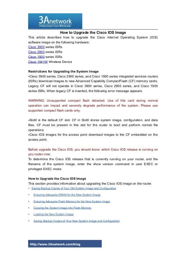 How to Upgrade the Cisco IOS Image