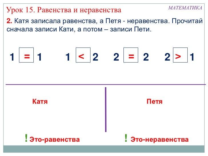 Математика 1 класс равенство