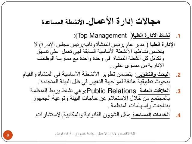 مجالات إدارة الأعمال- الأنشطة المساعدة  :)Top Management ( 1. نشاط الإدارة العليا  الإدارة العليا ) مدير عام ,رئيس المنشأة...