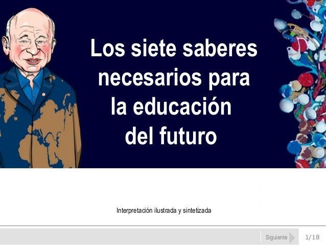 1/18Siguiente Los siete saberes necesarios para la educación del futuro Interpretación ilustrada y sintetizada