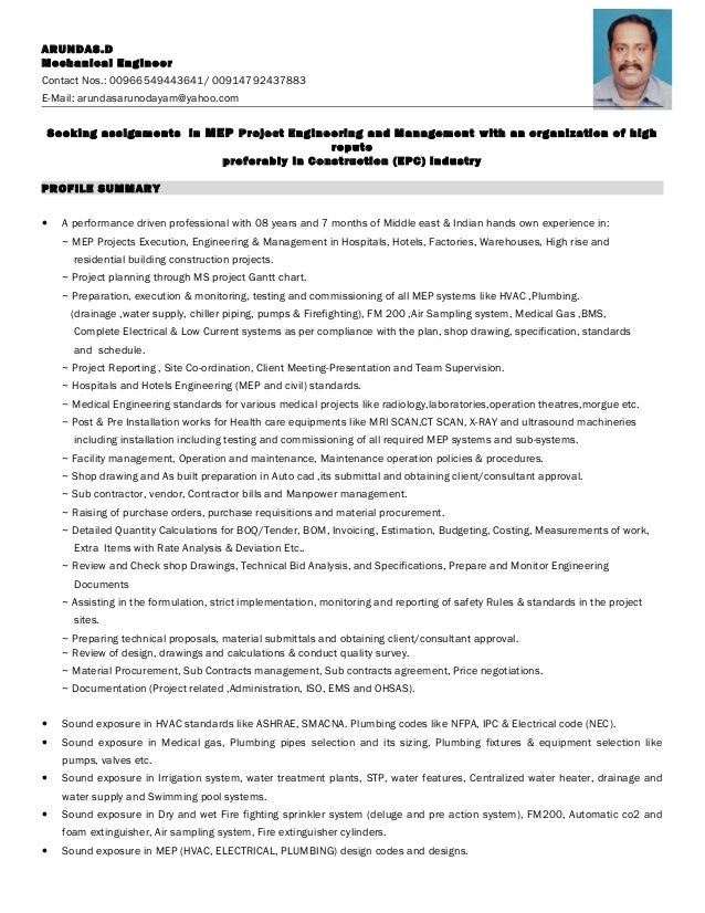 Mep engineer resume pdf