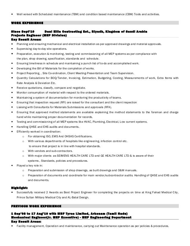 3 - Hotel Maintenance Engineer Sample Resume