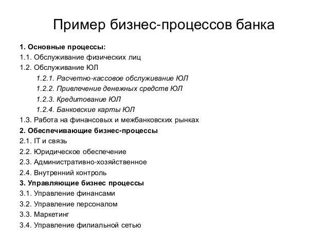 Пример бизнес-процессов банка 1. Основные процессы: 1.1. Обслуживание физических лиц 1.2. Обслуживание ЮЛ 1.2.1. Расчетно-...