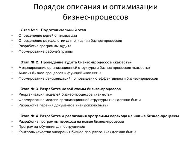 Порядок описания и оптимизации бизнес-процессов Этап № 1. Подготовительный этап • Определение целей оптимизации • Определе...