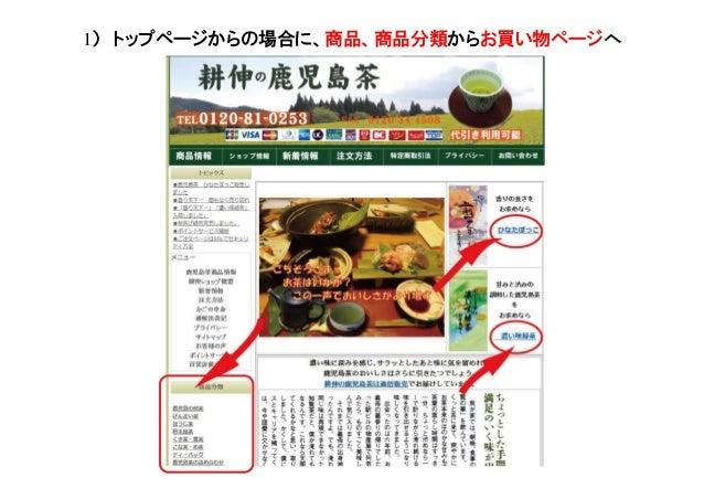 1) トップページからの場合に、商品、商品分類からお買い物ページへ