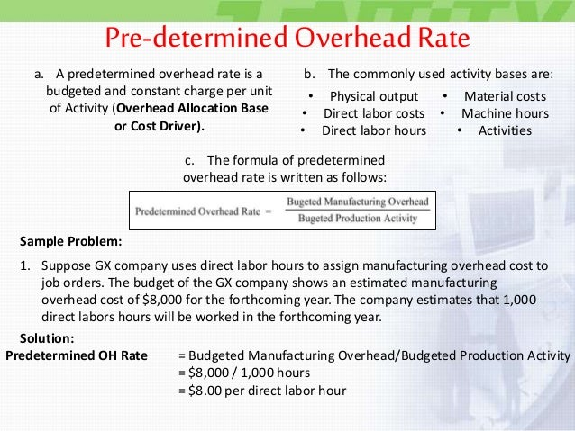 marketing and overhead allocation rate Full job costing requires allocating the indirect through activity-based costing and as a predetermined overhead rate form of overhead allocation.