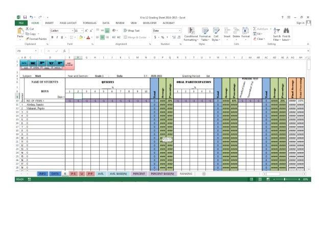 k to 12 grading sheet automatic computation excel 2013 2010 etc. Black Bedroom Furniture Sets. Home Design Ideas