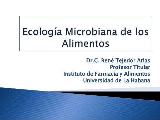 Dr.C. René Tejedor Arias Profesor Titular Instituto de Farmacia y Alimentos Universidad de La Habana