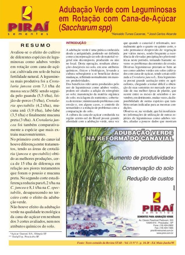 Fonte: Texto extraído da Revista STAB - Vol. 13 Nº 5 - p. 16-20 - Ed. Maio-Junho/95 PIRAÍ.SEMENTES.-.Sementes.para.adubaçã...