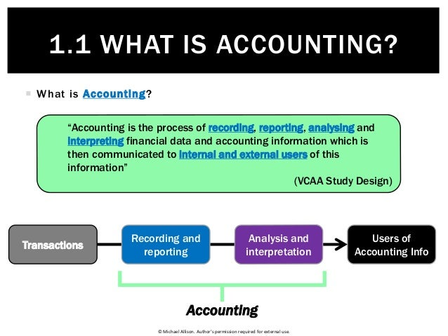 © Michael Allison. Author's permission required for external use.  What is Accounting? 1.1 WHAT IS ACCOUNTING? Users of A...