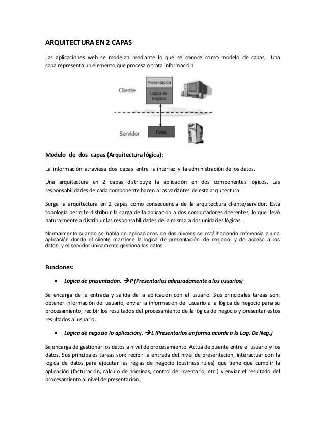 ARQUITECTURA EN 2 CAPAS Las aplicaciones web se modelan mediante lo que se conoce como modelo de capas, Una capa represent...