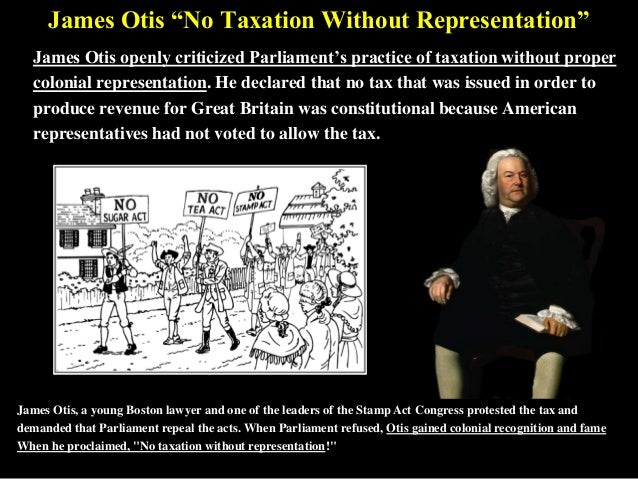 "essay on no taxation without representation Minors, however, denied the privilege of voting, are given no way to communicate what they deem a worthy application of their tax money without the right to vote, the taxes minors are forced to pay are unjust ""no taxation without representation"" was the famous slogan of the american colonies by taxing settlers without."