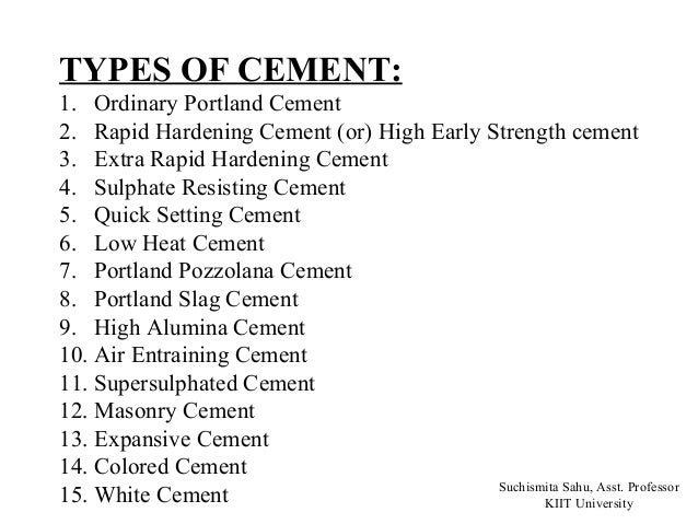 Different types of cement and their