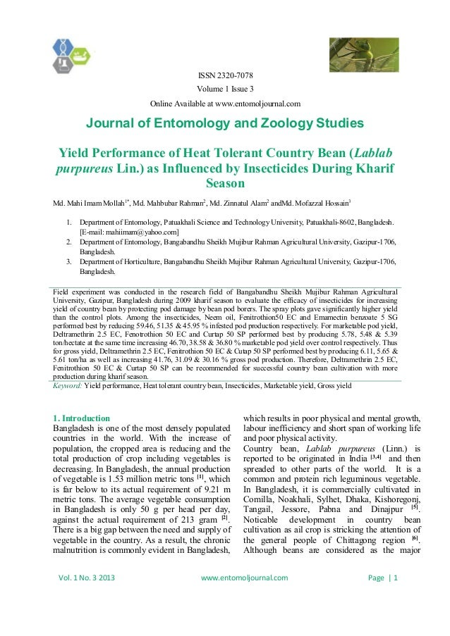 ISSN 2320-7078 Volume 1 Issue 3 Online Available at www.entomoljournal.com Journal of Entomology and Zoology Studies Vol. ...