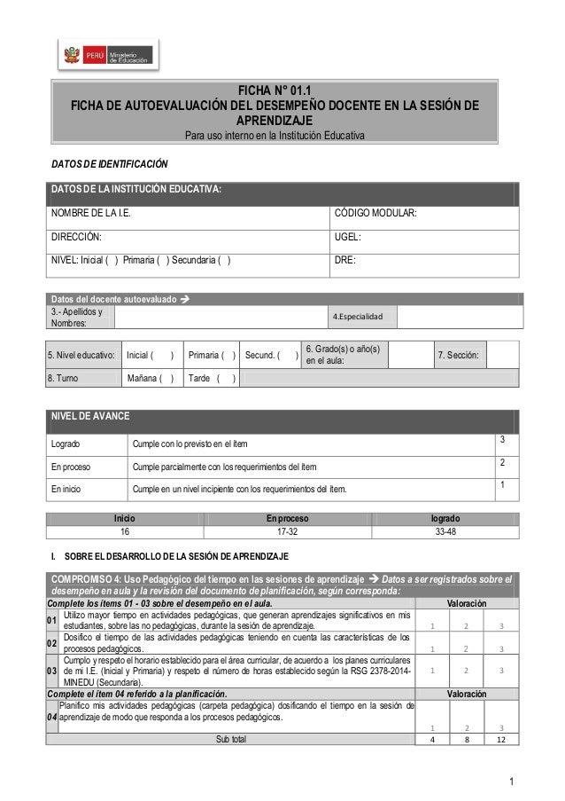 1 DATOS DE IDENTIFICACIÓN I. SOBRE EL DESARROLLO DE LA SESIÓN DE APRENDIZAJE DATOS DE LA INSTITUCIÓN EDUCATIVA: NOMBRE DE ...