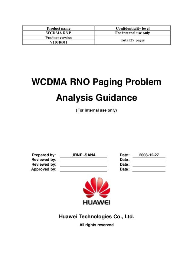 Product name Confidentiality level WCDMA RNP For internal use only Product version Total 29 pages V100R001 WCDMA RNO Pagin...