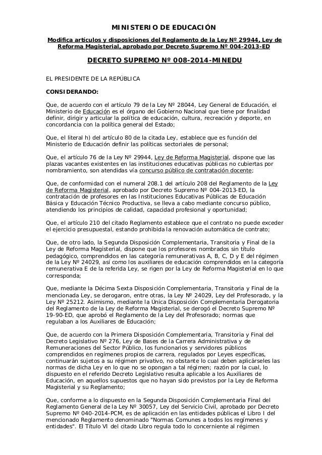 MINISTERIO DE EDUCACIÓN Modifica artículos y disposiciones del Reglamento de la Ley Nº 29944, Ley de Reforma Magisterial, ...