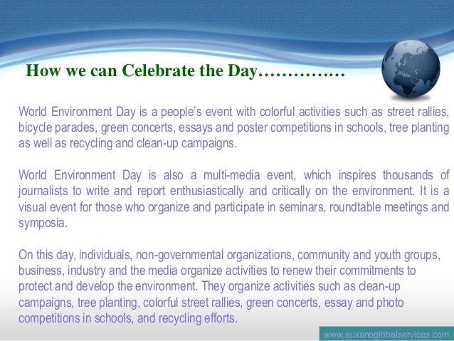 essay on world environment day 2012 Welcome to the department of environment meet the people program: 2nd thursday of every month world environment day 05 june 2012.