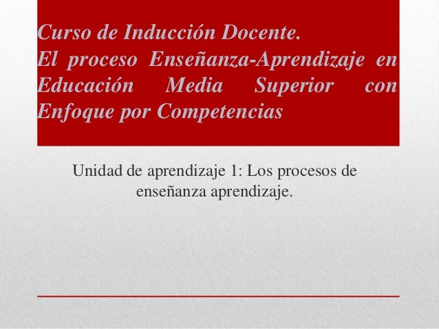 Unidad de aprendizaje 1: Los procesos de enseñanza aprendizaje. Curso de Inducción Docente. El proceso Enseñanza-Aprendiza...