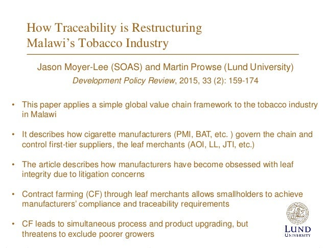 """malawi and tobacco essay Her observation was complemented by vincent nkhoma's essay,  malawi's """" long term economic marriage with tobacco"""" was also cited as."""