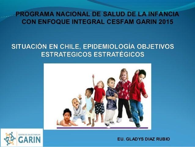 PROGRAMA NACIONAL DE SALUD DE LA INFANCIA CON ENFOQUE INTEGRAL CESFAM GARIN 2015 EU. GLADYS DIAZ RUBIO