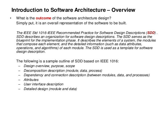 Software architecture design for begginers for Sdd template ieee