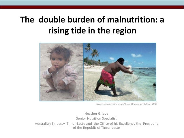 The double burden of malnutrition: a rising tide in the region Source: Heather Grieve and Asian Development Bank, 2007 Hea...