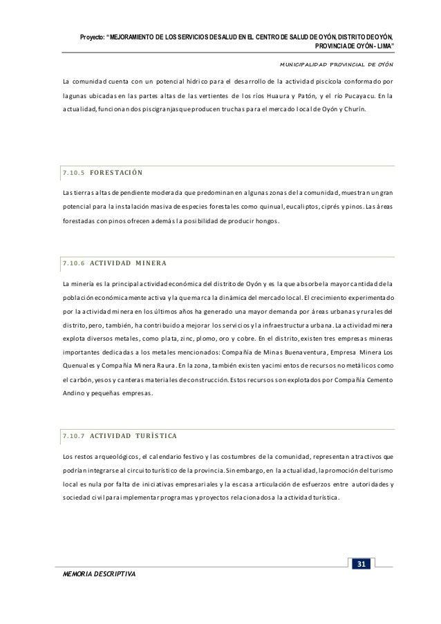 1 memoria descriptiva posta medica otec for Proyecto de crianza de truchas pdf