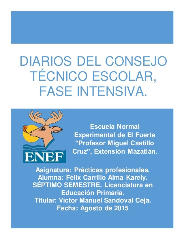 """DIARIOS DEL CONSEJO TÉCNICO ESCOLAR, FASE INTENSIVA. Escuela Normal Experimental de El Fuerte """"Profesor Miguel Castillo Cr..."""