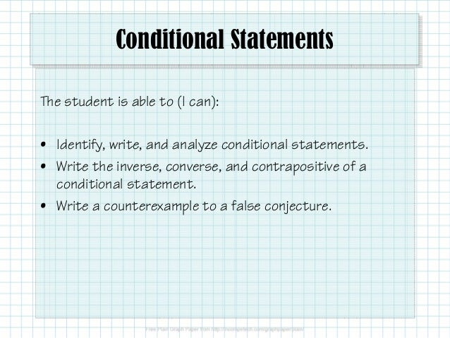 Conditional statements | easing the hurry syndrome.