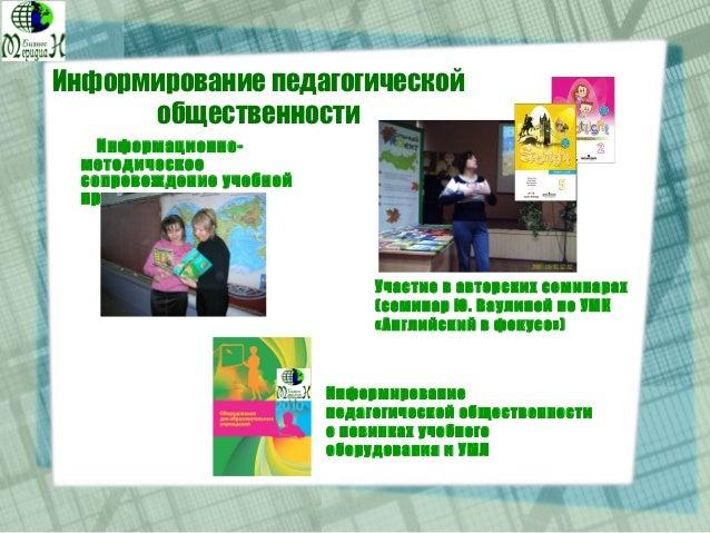 Информирование педагогической общественности Информационно- методическое сопровождение учебной продукции Участие в авторск...