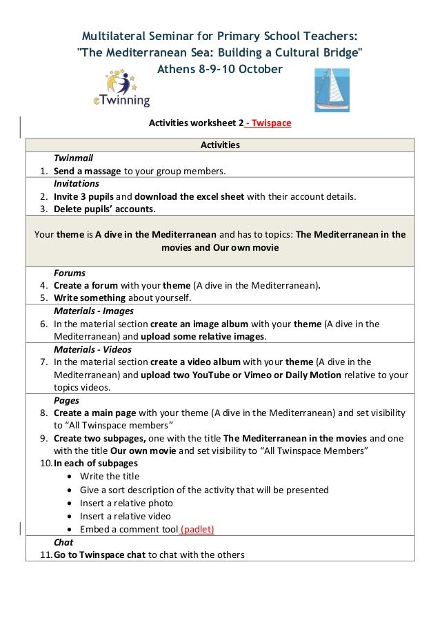 Activities worksheets about Twinspace