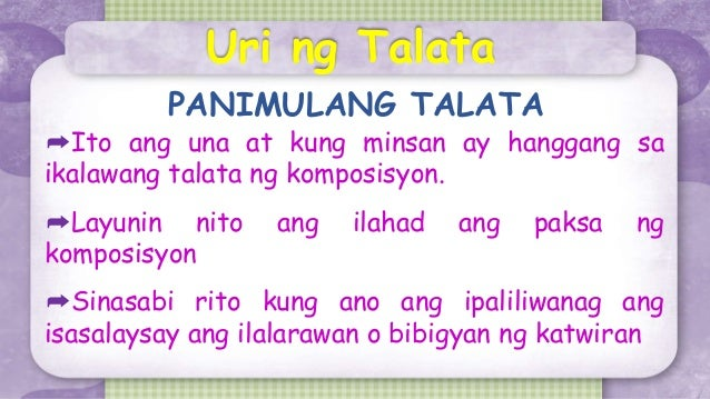 halimbawa ng talata Can someone give me an example of talata in filipino i really need this tomorrow.