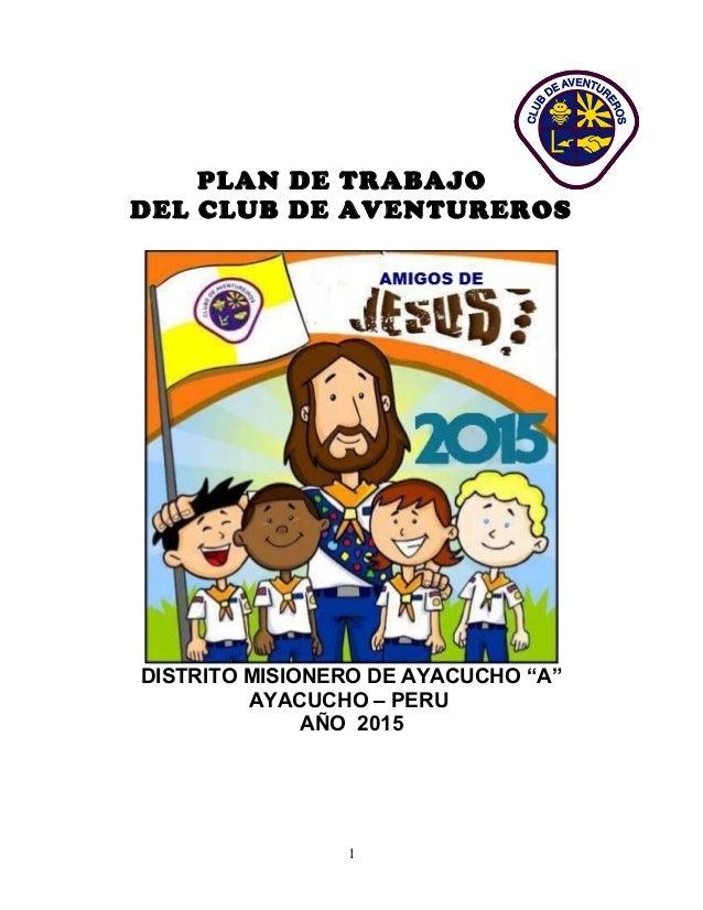 5 plan de trabajo aventureros 2015 - Solicitar tarjeta club dia ...