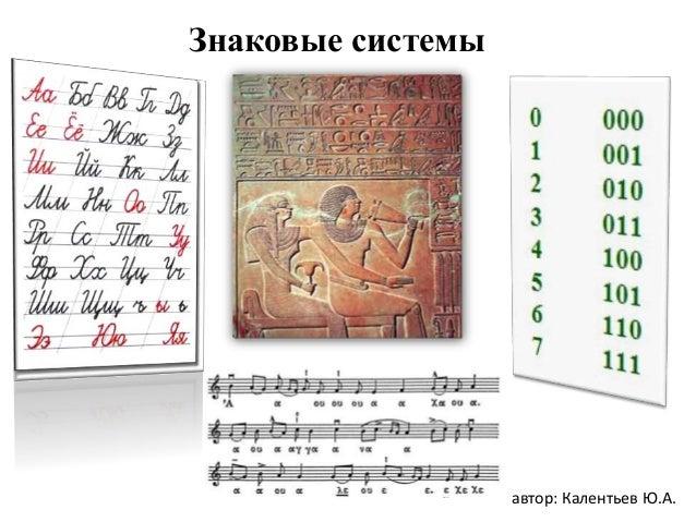 Знаковые системы автор: Калентьев Ю.А.