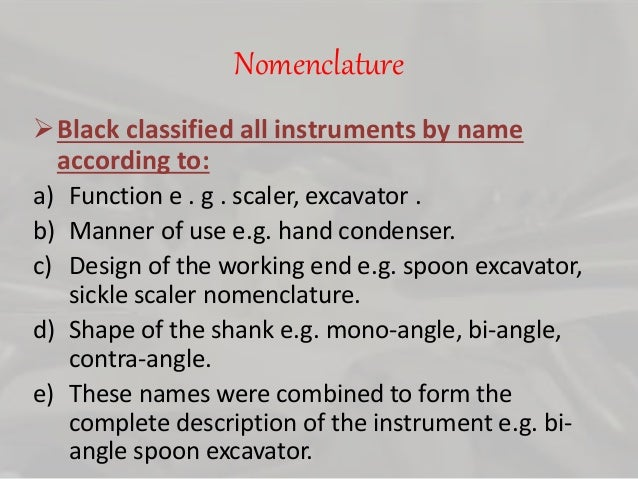 19 Nomenclature Black Classified All Instruments By Name
