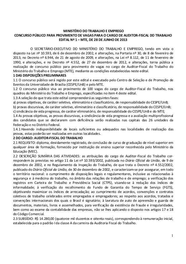 1 MINISTÉRIO DO TRABALHO E EMPREGO CONCURSO PÚBLICO PARA PROVIMENTO DE VAGAS PARA O CARGO DE AUDITOR-FISCAL DO TRABALHO ED...