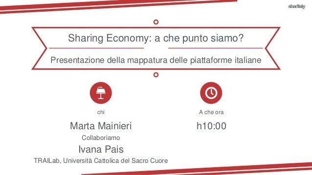 chi A che ora Marta Mainieri h10:00 Collaboriamo Sharing Economy: a che punto siamo? Ivana Pais TRAILab, Università Cattol...