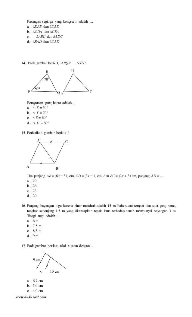 Latihan Soal Matematika Kesebangunan Dan Kekongruenan Kelas 9 Smp