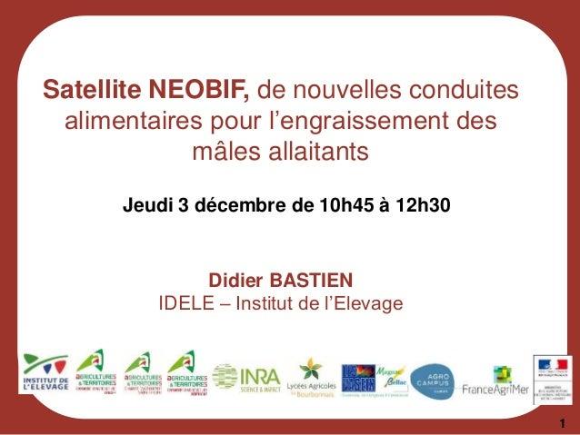 Satellite NEOBIF, de nouvelles conduites alimentaires pour l'engraissement des mâles allaitants Jeudi 3 décembre de 10h45 ...