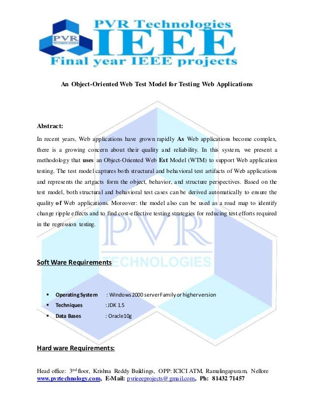 Head office: 3nd floor, Krishna Reddy Buildings, OPP: ICICI ATM, Ramalingapuram, Nellore www.pvrtechnology.com, E-Mail: pv...