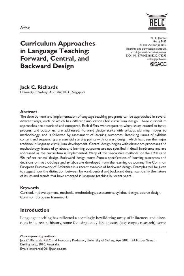 1 Curriculum Approaches In Language Teaching