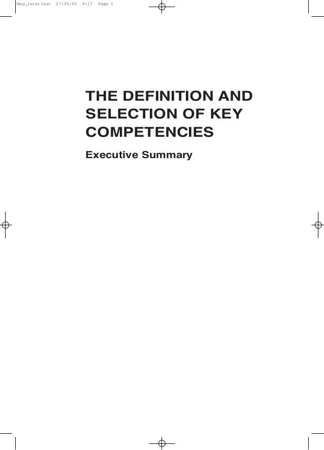 THE DEFINITION AND SELECTION OF KEY COMPETENCIES Executive Summary Mep_interieur 27/05/05 9:17 Page 1