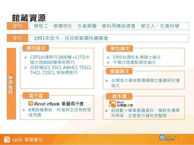 [2016/01] 1. 關於華藝線上圖書館 Slide 3